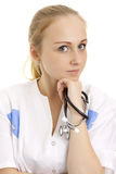Picture of young doctor with stethoscope. Royalty Free Stock Photography