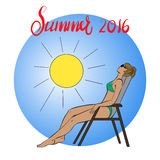 Picture of a young girl sunbathing in the sun. Vector illustration Royalty Free Stock Image