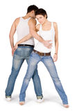 Picture of the young handsome couple. Brightly picture of the young handsome couple Royalty Free Stock Images