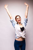 Picture of young happy woman with hands up Stock Images