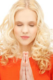 Picture of young praying girl Royalty Free Stock Images