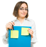 Picture of a young secretary holding a folder Royalty Free Stock Images