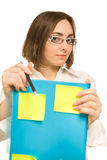 Picture of a young secretary holding a folder Stock Image