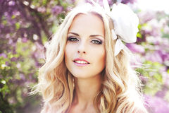 Picture of young woman. Wearing wreath of flowers Royalty Free Stock Image
