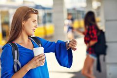 Young woman tourist at platform train station stock photo