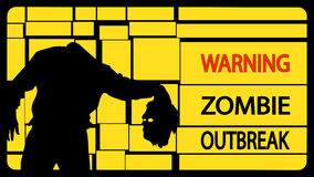 Picture of zombie128. Illustration of zombie man silhouette with head on yellow background Stock Photo