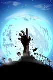 Picture of zombie119. Illustration of silhouette zombie hand at the moon Stock Images