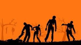 Picture of zombies. Illustration of some group of zombies in the woods Royalty Free Stock Images