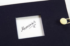Picturebook with word Memories Stock Photo