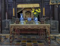 Altar inside the Hoa Khiem Temple, Tu Duc Royal Tomb, Hue, Vietnam. Pictured is an altar inside the Hoa Khiem Temple, Tu Duc Royal Tomb, Hue, Vietnam. The Hoa royalty free stock photography