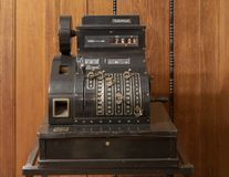 Antique National cash register on display in prague, Czech Republic. Pictured is an antique National cash register on display in Prague, Czech Republic. Hotovosk stock photo