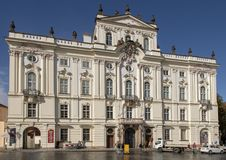 Archbishop Palace on Hradcanske Square, Prague. Pictured is the Archbishop Palace on Hradcanske Square, near Prague Castle. Archbishop palace has served as a royalty free stock photo