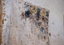 Fresco Triptych with Madonna Odegitria, S. Lorenzo and S. Teodoro in La Chiesa Di Lama D` Antico, Parco Rupestre Lama D`Antico. Pictured is a badly damaged Stock Photo