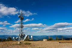 GPS Tower on the top of a mountain in Creston Valley, Kootenays, BC stock image