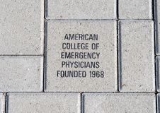 American College of Emergency Physicians brick, EMF Plaza, National ACEP Headquarters, Dallas, Texas. Pictured is a brick honoring the American College of Stock Images