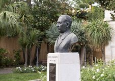 Bust honoring Salve D`Esposito  in municipal park, Sorrento Stock Photo