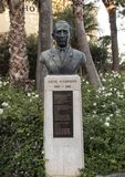 Bust honoring Salve D`Esposito  in municipal park, Sorrento Stock Photography