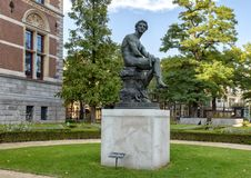 Bronze statue of Mercury, Rijksmuseum, Amsterdam, Netherlands. Pictured is a bronze sculpture of mercury by the Rijksmuseum in Amsterdam, Netherlands. The stock image