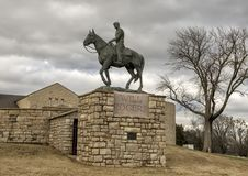 Bronze sculpture of Will Rogers on horseback, Claremore, Oklahoma. Pictured is a bronze sculpture of Will Rogers on horseback by Electra Wagoner Biggs in the Stock Image