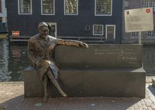 Bronze statue of Major Bosshardt, Amsterdam, The Netherlands royalty free stock images