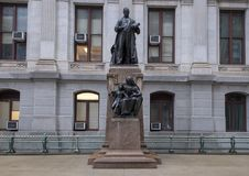 Bronze sculpture Willam McKinley, City Hall, Philadelphia, Pennsylvania. Pictured is a bronze statue of President William McKinley who lead the country during Stock Photos