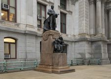Bronze sculpture Willam McKinley, City Hall, Philadelphia, Pennsylvania. Pictured is a bronze statue of President William McKinley who lead the country during Royalty Free Stock Photos