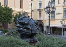 Guardian Samurai statue by Matteo Pugliese, Sant`Antonino Square, Sorrento. Pictured is the bronze and terracotta Guardian Samurai Statue by Matteo Pugliese in Stock Photos