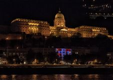 Buda Castle Hill at night, Budapest, Hungary. Pictured is the Buda Castle Hill at night from the River Danube, Budapest, Hungary. It is the historical castle and stock photo