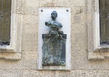 Bust of Felice Cavaliotti on a wall in Lecce, Italy Royalty Free Stock Image
