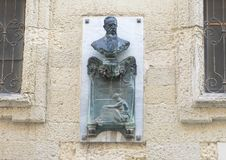 Bust of Giovanni Bovio on an outside wall in Lecce Stock Images