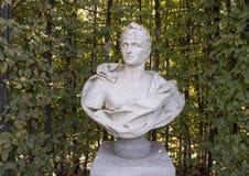 Carrara marble bust of a Roman Emperor, sculpture garden, Rijksmuseum, Amsterdam, Netherlands. Pictured is a carrara marble bust of a Roman Emperor in the stock photo