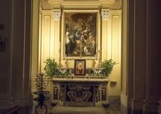 Chapel on the left side of the Chiesa Di San Paolo, historic center of Sorrento, Italy stock photography