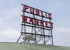 Sign over Pike Place Market, Seattle, Washington stock photos