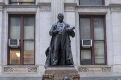 Bronze sculpture Willam McKinley, City Hall, Philadelphia, Pennsylvania. Pictured is a closeup view of a bronze statue of President William McKinley who lead the Stock Image
