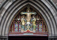 Pictured a closeup view of `Christ in Majesty`, above front door of Saint Mark`s Episcopal Church, Philadelphia, Pennsylvania. Pictured is a closeup view of the Royalty Free Stock Images