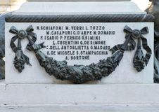Closeup view of detail on the side of the statue of Sigismondo Castromediano in Lecce, Italy Royalty Free Stock Photo