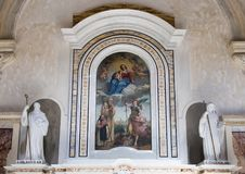 Closeup Altar of Saint John of Matera in Matera Cathedral with painting Madonna and child Stock Image