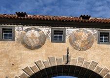Coats of Arms Rosenberg and Baden, Cesky Krumlov Palace, Czech Republic stock photo