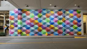 `Super Deluxe`, a mural by Ricardo Paniagua in the West Village, Dallas, Texas. Pictured is a colorful geometric mural by Ricardo Paniagua titled `Super Deluxe stock photography