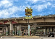 Entrance sign Deep Ellum, Dallas, Texas stock photo