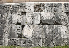 Closeup of the bottom of the East Wall of the Great Ball Court, Chichen Itza Stock Photo