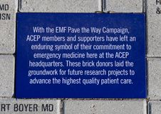 EMF Pave the Way Campaign brick, EMF Plaza, National ACEP Headquarters, Dallas, Texas. Pictured is the Emergency Medicine Foundation Pave the Way Campaign brick Stock Images