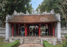 Entrance to the second courtyard, Temple of Literature, Hanoi, Vietnam. Pictured is the entrance leading to the second courtyard of the Temple of Literature in stock image