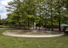 Fogelson Fountain at the Dallas Arboretum and Botanical Garden. Pictured is the Fogelson Fountain at the Dallas Arboretum.  It was donated by Greer Garson Stock Photo
