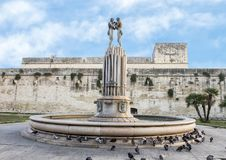 Fountain of Harmony in front of the Castle of Charles V, Lecce. Pictured is Fontana dell'Armonia or Fountain of Harmony, tucked away on Via Guglielmo Marconi Stock Photo