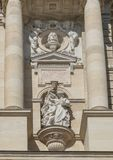 Forschung Entschleiert Die Natur scultped by Carl Kundmann, front of the Natural History Museum, Maria-Theresien-Platz, Vienna. Pictured is Forschung royalty free stock photos