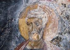 Fresco Saint Peter the Apostle, La Chiesa di San Lorenzo, Parco Rupestre Lama D`Antico. Pictured is a fresco showing Saint Peter the Apostle in the ancient cave Royalty Free Stock Image