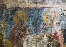 Fresco Saints Paul and Peter the Apostles, La Chiesa di San Lorenzo, Parco Rupestre Lama D`Antico. Pictured is a fresco showing Saints Paul and Peter the Stock Photography