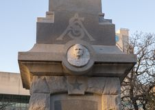 Front of the Confederate War Memorial in Dallas, Texas. Pictured is the front of the Confederate War Memorial in Dallas, Texas. The letters CSA stand for royalty free stock photo