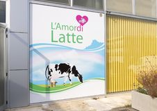 Front of L`Amordi Latte, a company that produces all types of cheese in Cavallino, Italy. Royalty Free Stock Photography
